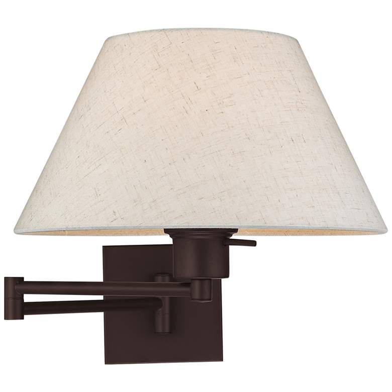 Bronze Swing Arm Wall Lamp with Oatmeal Fabric Empire Shade