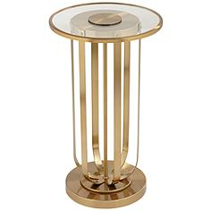 """Blaine 14"""" Wide Gold Metal and Glass Accent Table"""