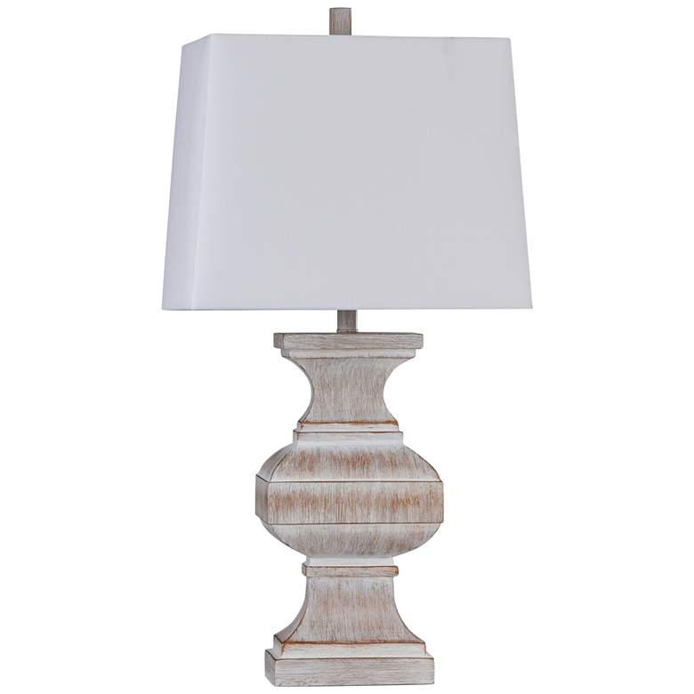 Malta White and Copper Baluster Rectangular Shade Table Lamp