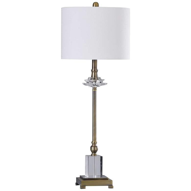 Matlock Old Brass Metal and Clear Crystal Buffet Table Lamp