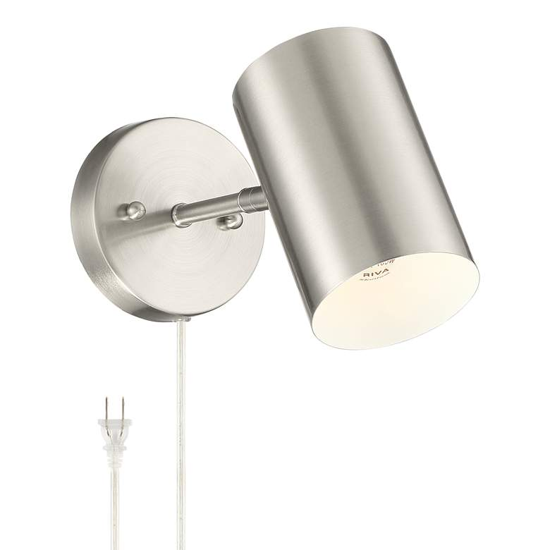 Carla Brushed Nickel Cylinder Down-Light Plug-In Wall Lamp