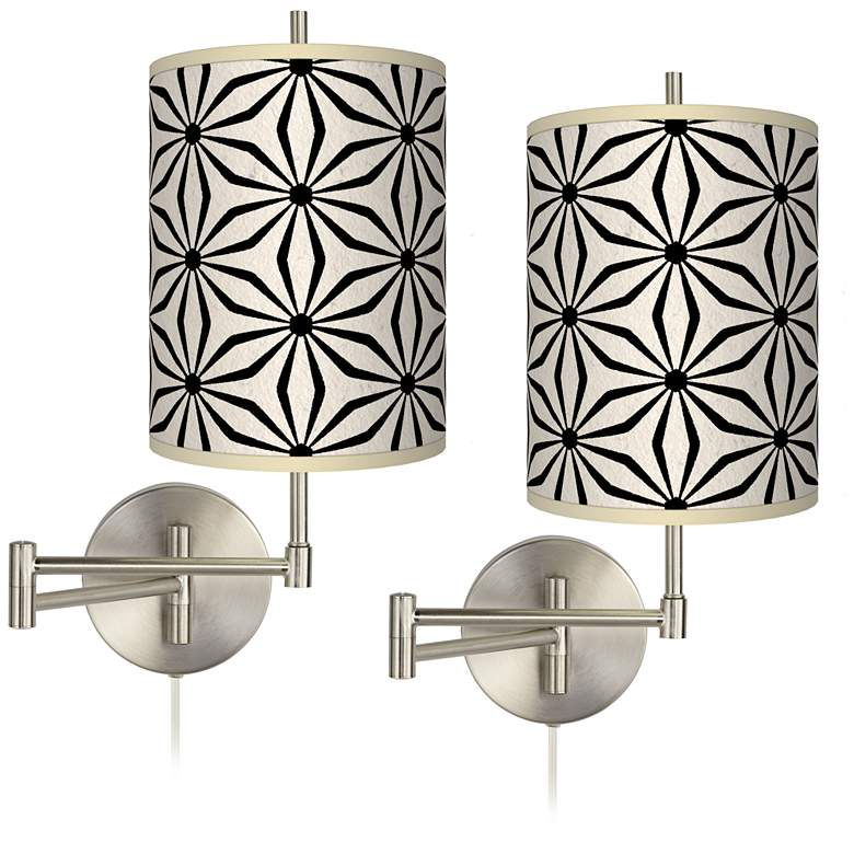 Kaleidoscope Flowers Tessa Brushed Nickel Wall Lamps Set of 2