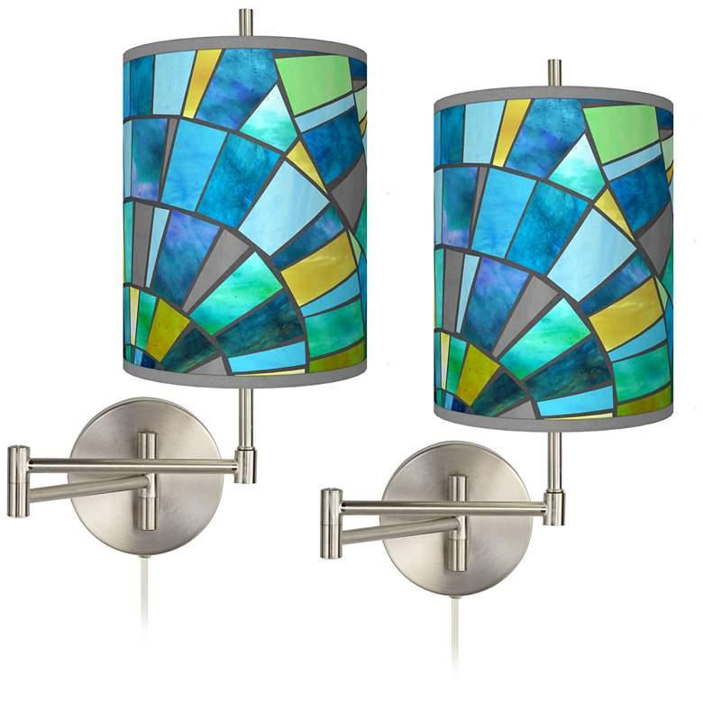 Lagos Mosaic Tessa Brushed Nickel Swing Arm Wall Lamps Set of 2