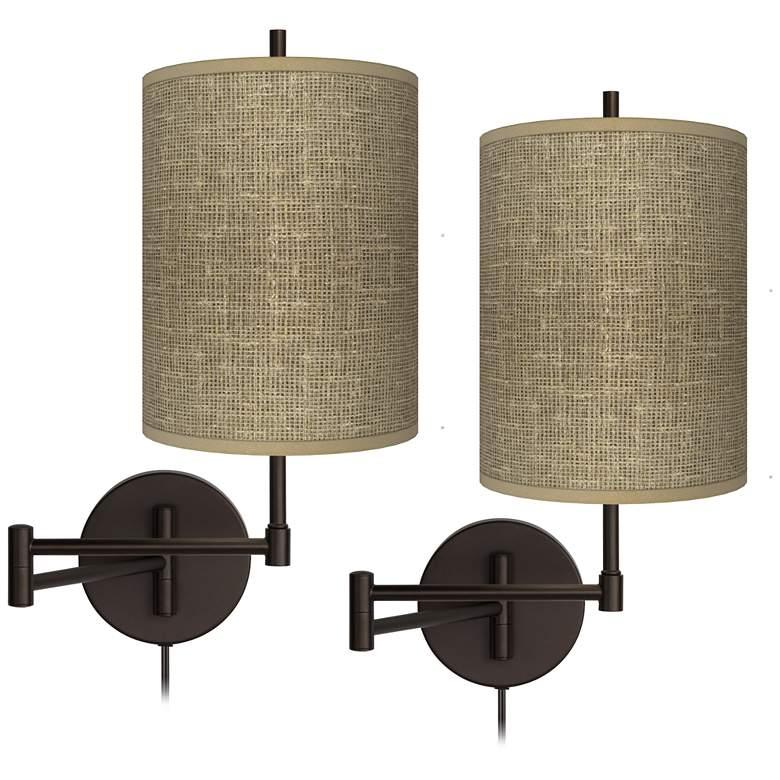 Burlap Print Tessa Bronze Swing Arm Wall Lamps Set of 2