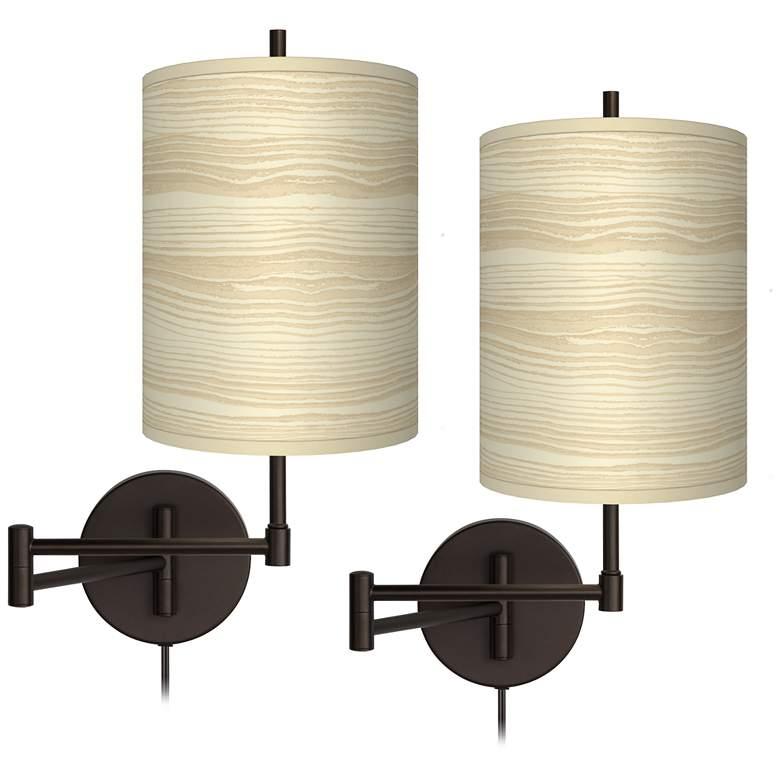 Birch Blonde Tessa Bronze Swing Arm Wall Lamps Set of 2
