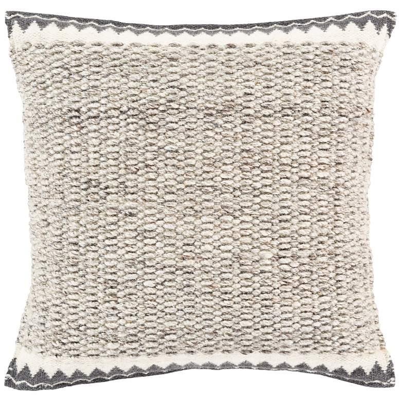"Surya Faroe Cream Charcoal 22"" Square Decorative Pillow"