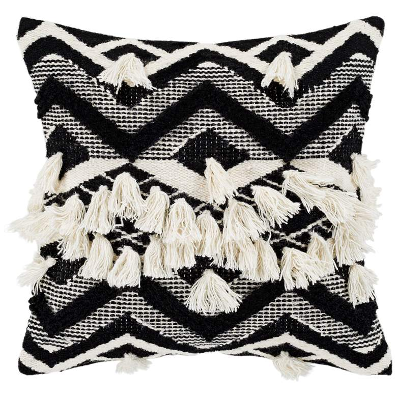 "Surya Gaza Beige Black Cream 18"" Square Decorative Pillow"