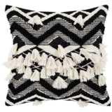 "Surya Gaza Beige Black Cream 20"" Square Decorative Pillow"