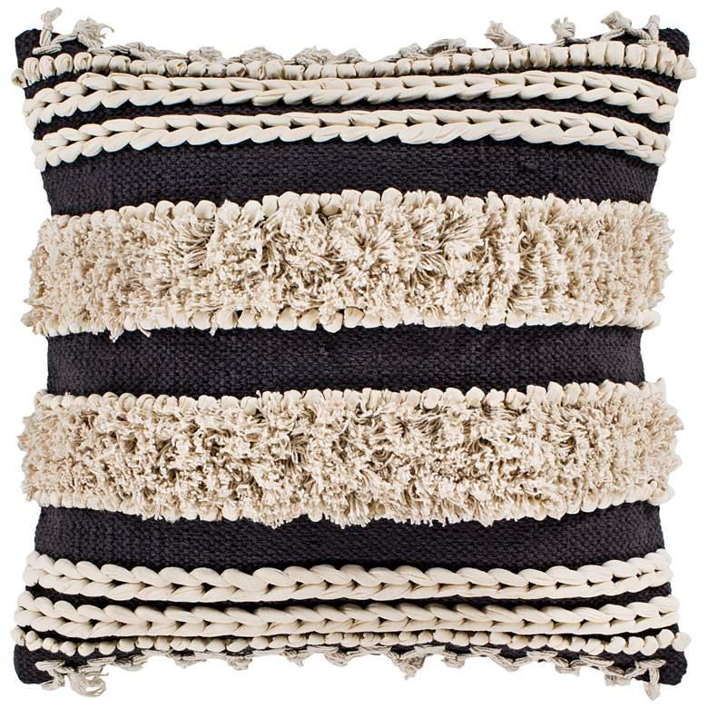 "Surya Helena Charcoal Cream 20"" Square Decorative Pillow"