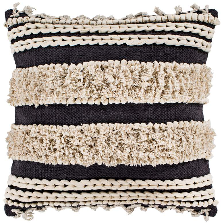 "Surya Helena Charcoal Cream 22"" Square Decorative Pillow"