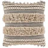 "Surya Helena Taupe Cream Cotton 18"" Square Decorative Pillow"