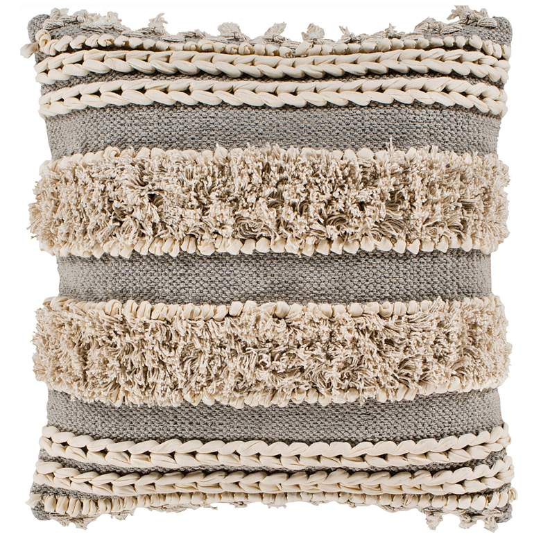 "Surya Helena Taupe Cream Cotton 20"" Square Decorative Pillow"
