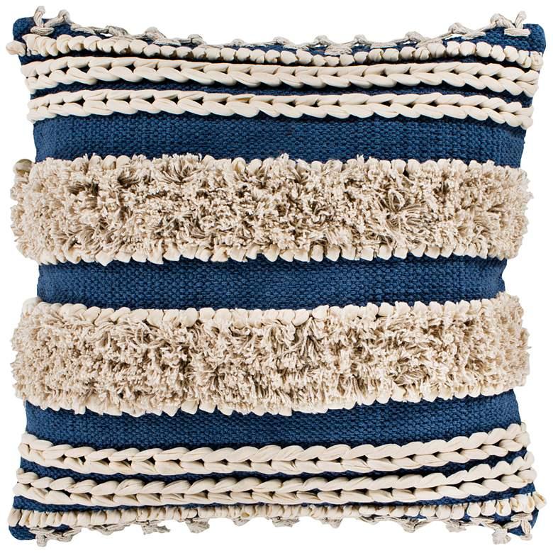 "Surya Helena Navy Cream Cotton 18"" Square Decorative Pillow"