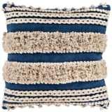 "Surya Helena Navy Cream Cotton 22"" Square Decorative Pillow"