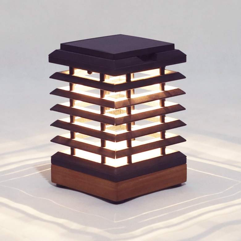 """Tekura 11"""" High Teak Wood Outdoor Solar Table Light"""