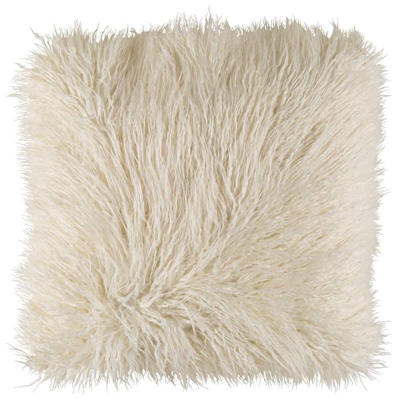 "Surya Kharaa White Faux Fur 20"" Square Decorative Pillow"
