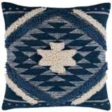 "Surya Lachlan Denim Navy Cream 18"" Square Decorative Pillow"