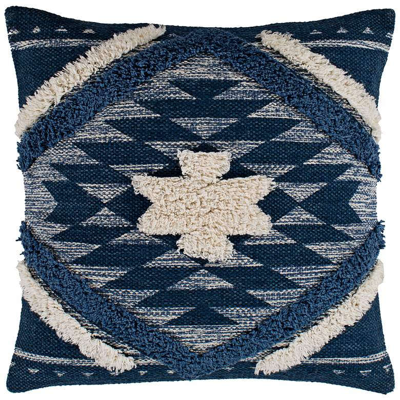 "Surya Lachlan Denim Navy Cream 20"" Square Decorative Pillow"