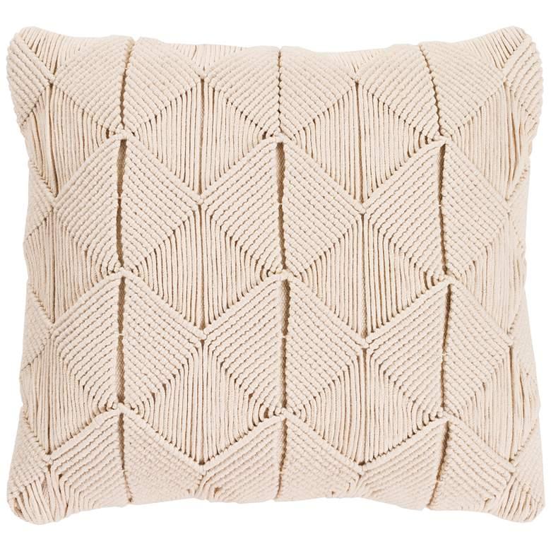 """Surya Migramah Cream Cotton 22"""" Square Decorative Pillow"""