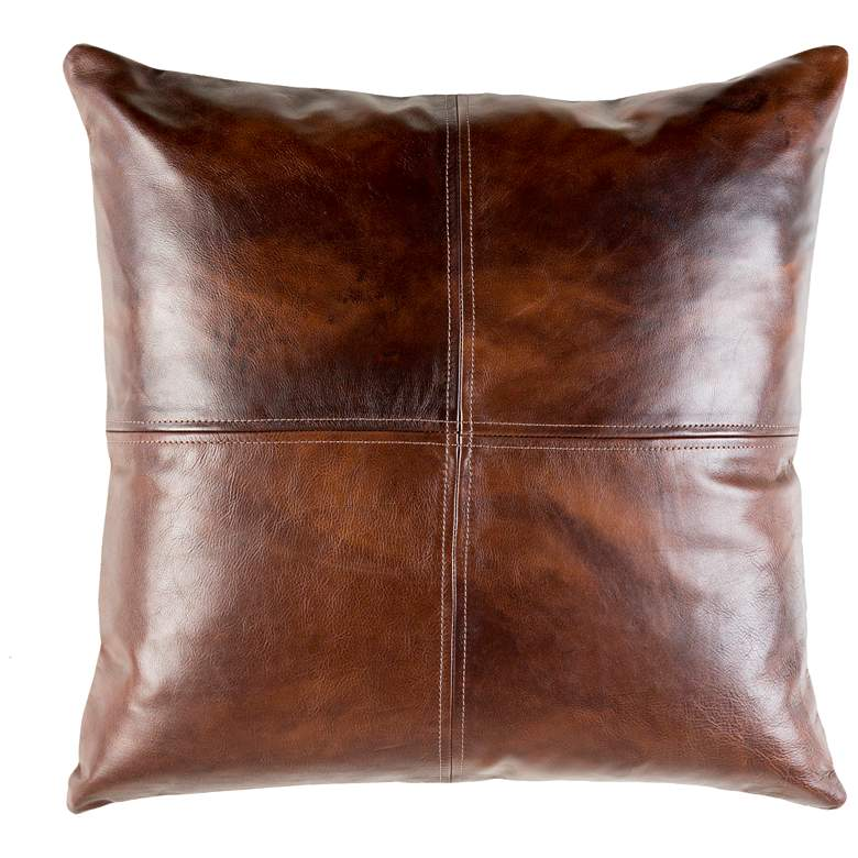"""Sheffield Dark Brown Leather 20"""" Square Decorative Pillow"""
