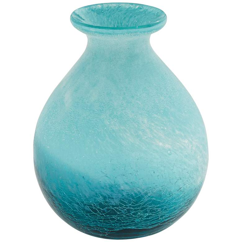 """Two-Tone Blue 9"""" High Round Glass Decorative Vase"""