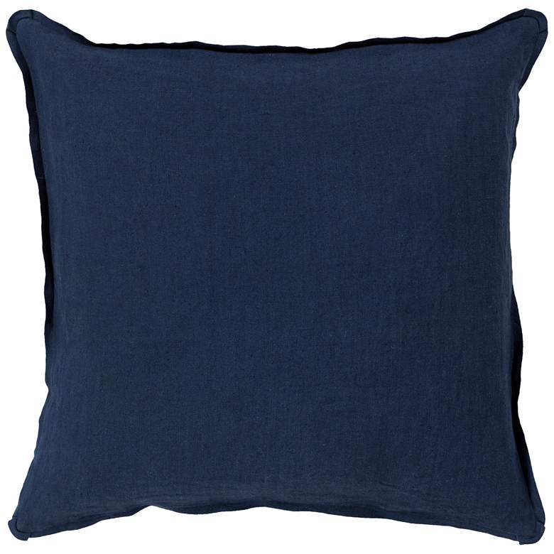 """Surya Solid Navy Linen 18"""" Square Decorative Pillow"""
