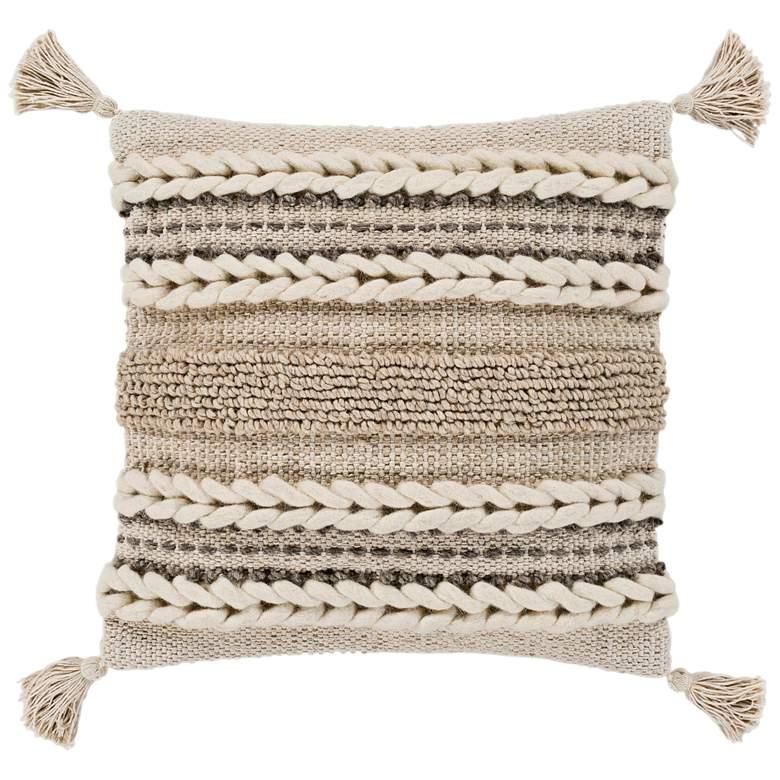 "Surya Tov Beige Khaki Braided 20"" Square Decorative Pillow"