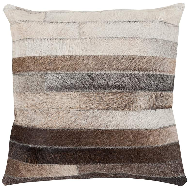 "Surya Trail Beige Brown Stripe 18"" Square Decorative Pillow"
