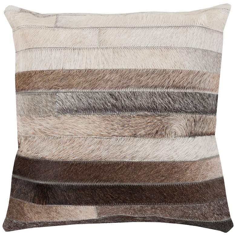 "Surya Trail Beige Brown Stripe 22"" Square Decorative Pillow"