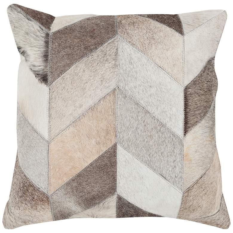 "Surya Trail Beige Brown Chevron 18"" Square Decorative Pillow"