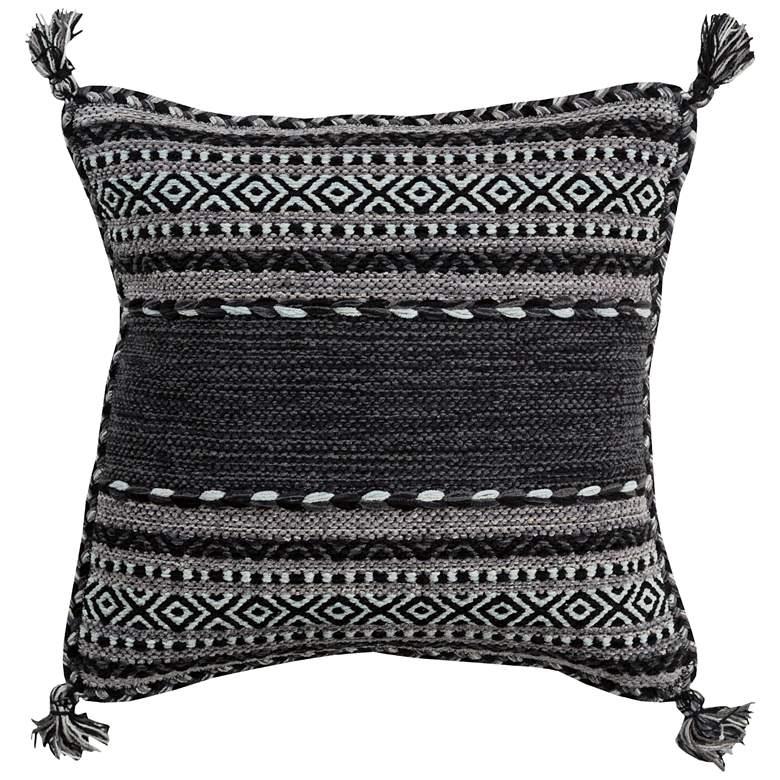"Surya Trenza Light Gray Black 22"" Square Decorative Pillow"