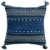 "Surya Trenza Black Dark Blue 20"" Square Decorative Pillow"