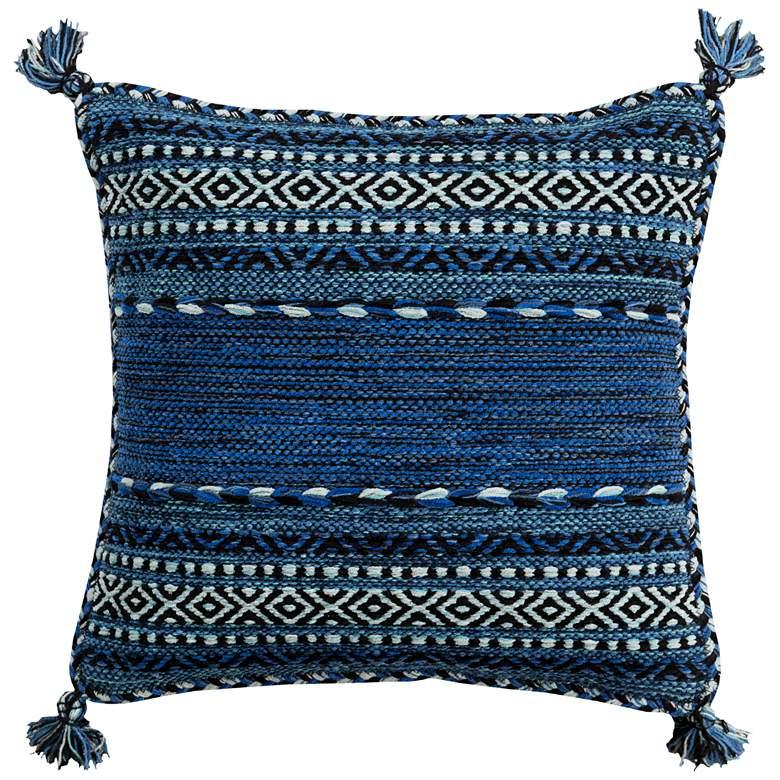 "Surya Trenza Black Dark Blue 22"" Square Decorative Pillow"