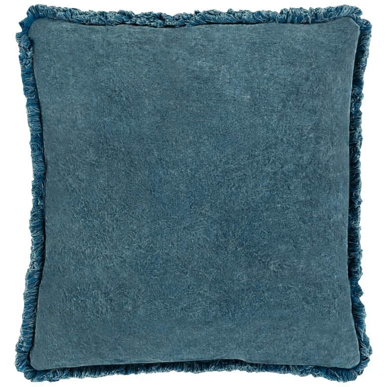 "Surya Washed Cotton Velvet Denim 22"" Square Throw Pillow"