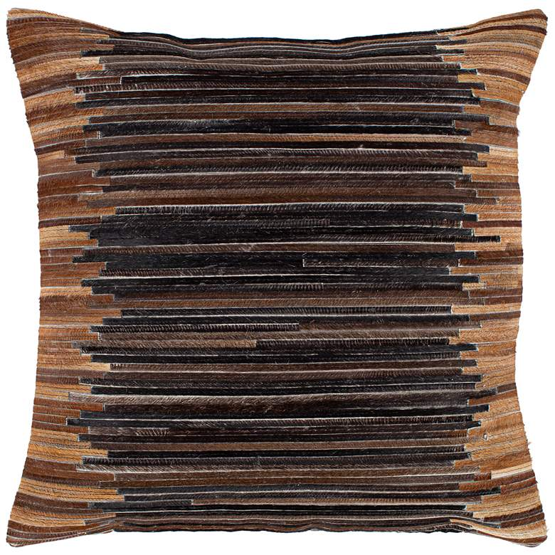 """Surya Zander Dark Brown Patched 20"""" Square Decorative Pillow"""