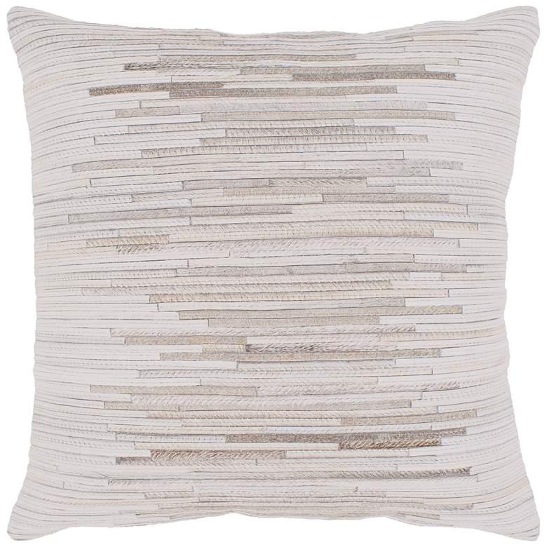 "Surya Zander Tan Cream Patched 20"" Square Decorative Pillow"