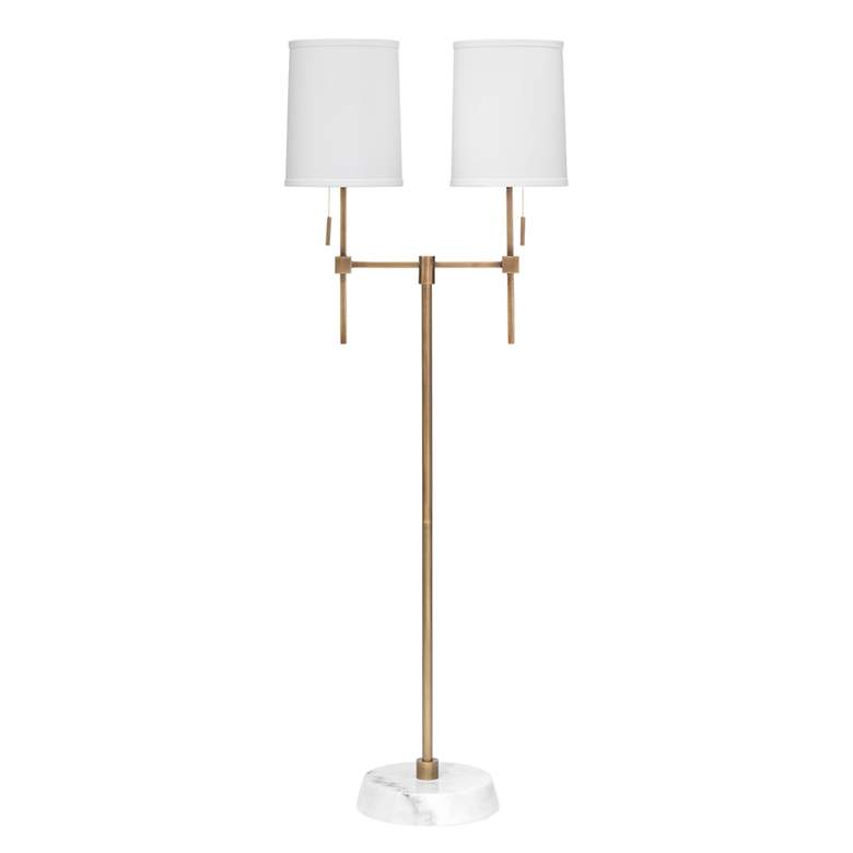 Jamie Young Minerva Brass and White Marble 2-Light Floor Lamp