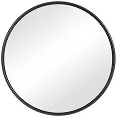 """Uttermost Belham Aged Satin Black 35"""" Round Wall Mirror"""