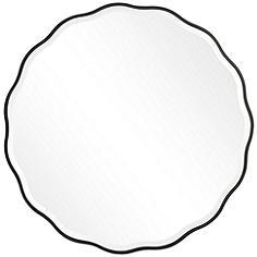 """Uttermost Aneta Satin Black 42"""" Round Scalloped Wall Mirror"""