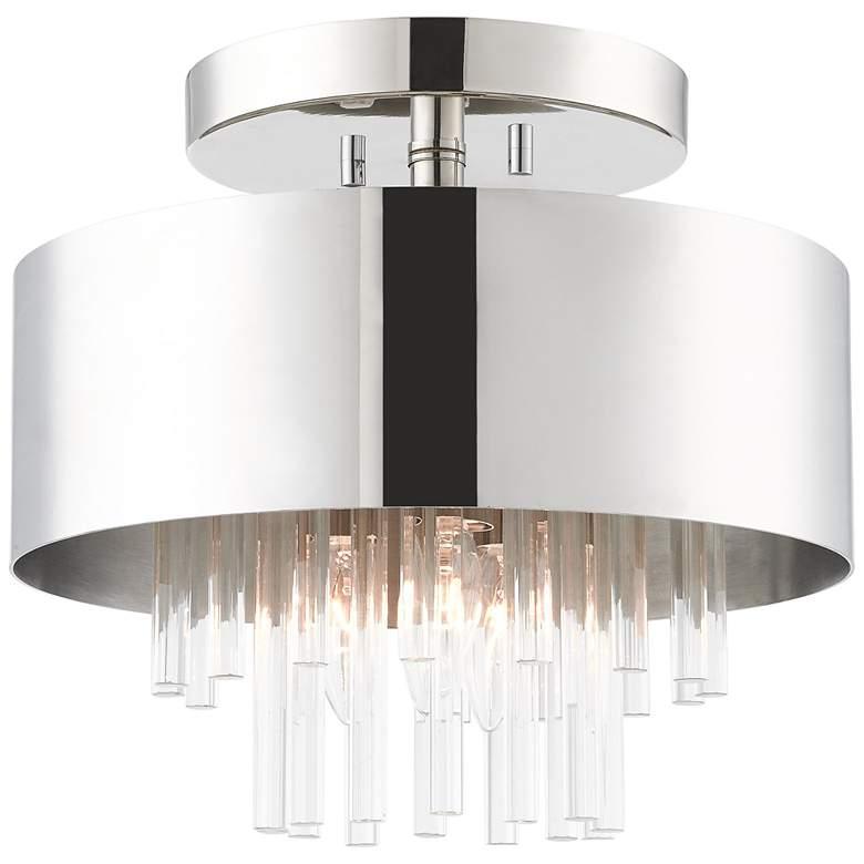 """Orenberg 13"""" Wide Polished Nickel Crystal Rods 3-Light Ceiling Light"""