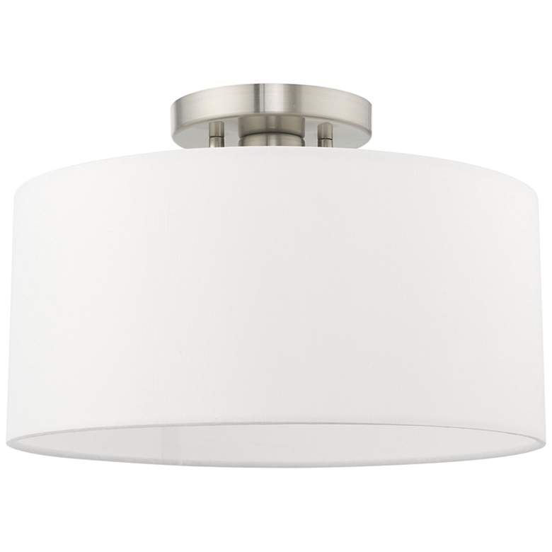 """Clark 13"""" Wide Brushed Nickel Off-White Shade Modern Ceiling Light"""