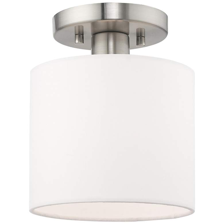 """Clark 7"""" Wide Brushed Nickel Off-White Shade Modern Ceiling Light"""