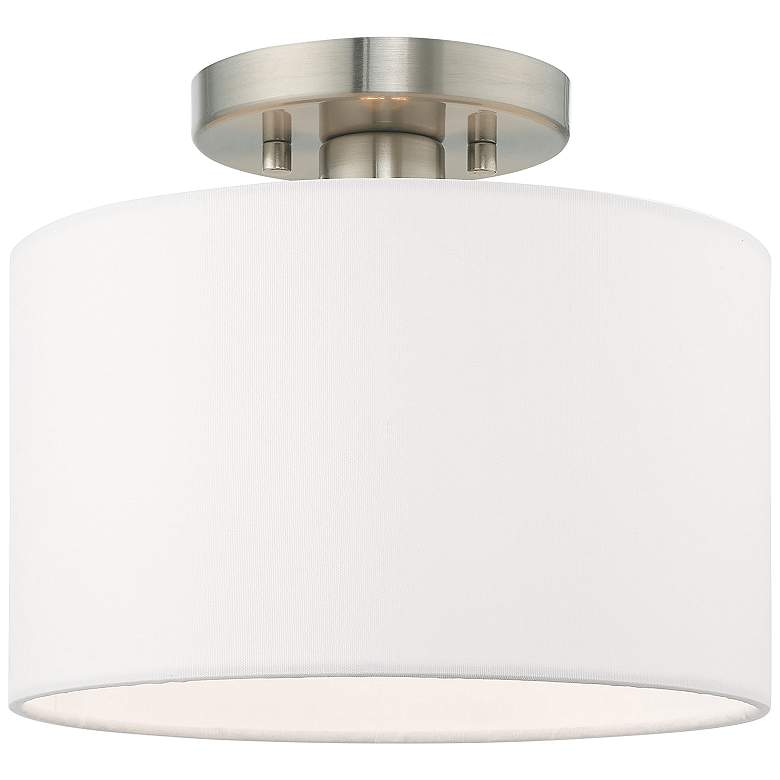 "Clark 10"" Wide Brushed Nickel Off-White Shade Modern Ceiling Light"