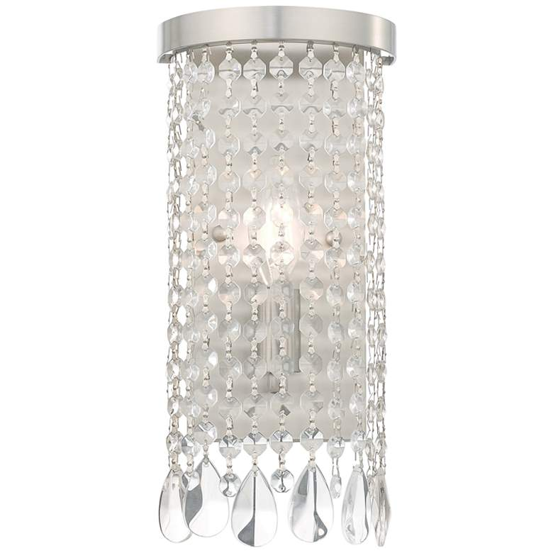Elizabeth 12 1/2 High Brushed Nickel and Crystal Wall Sconce Light