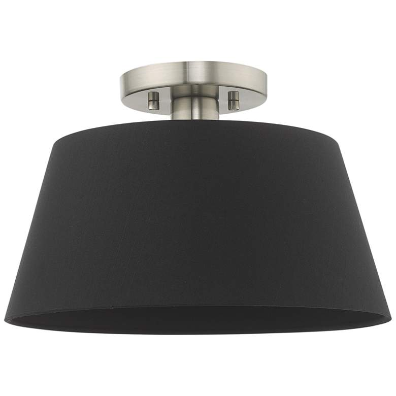 """Belclaire 13"""" Wide Brushed Nickel and Black Shade Ceiling Light"""