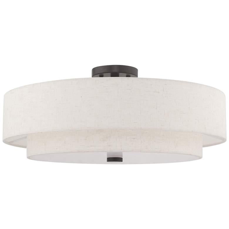 "Meridian 22"" Wide Double Drum Shade Bronze 5-Light Ceiling Light"