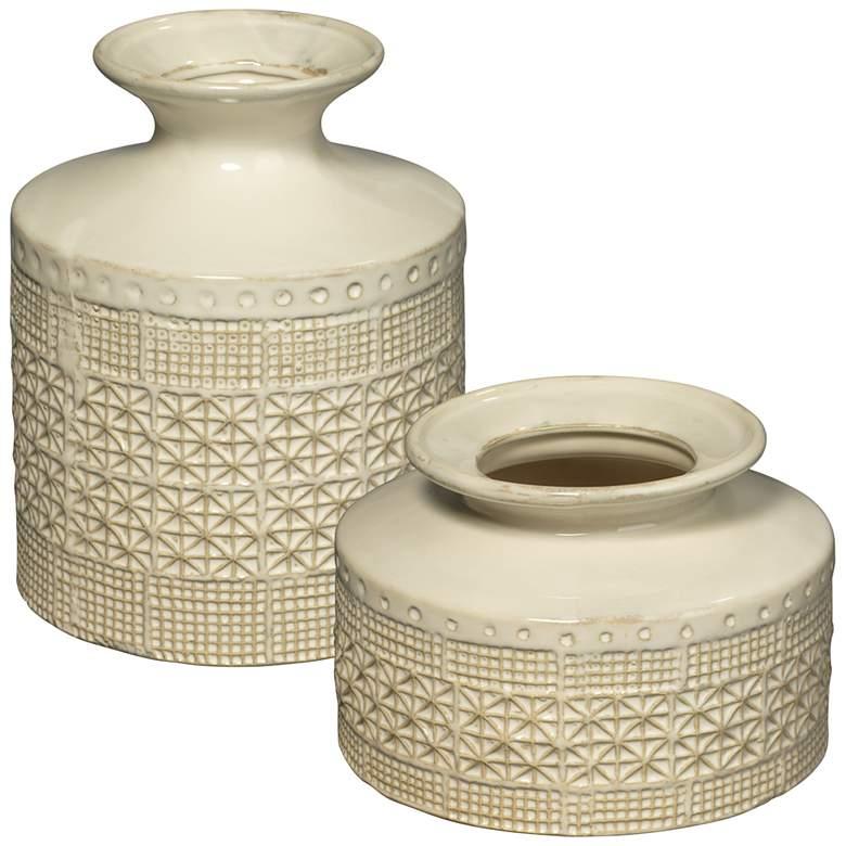Jamie Young Astral White Ceramic Decorative Vases Set of 2