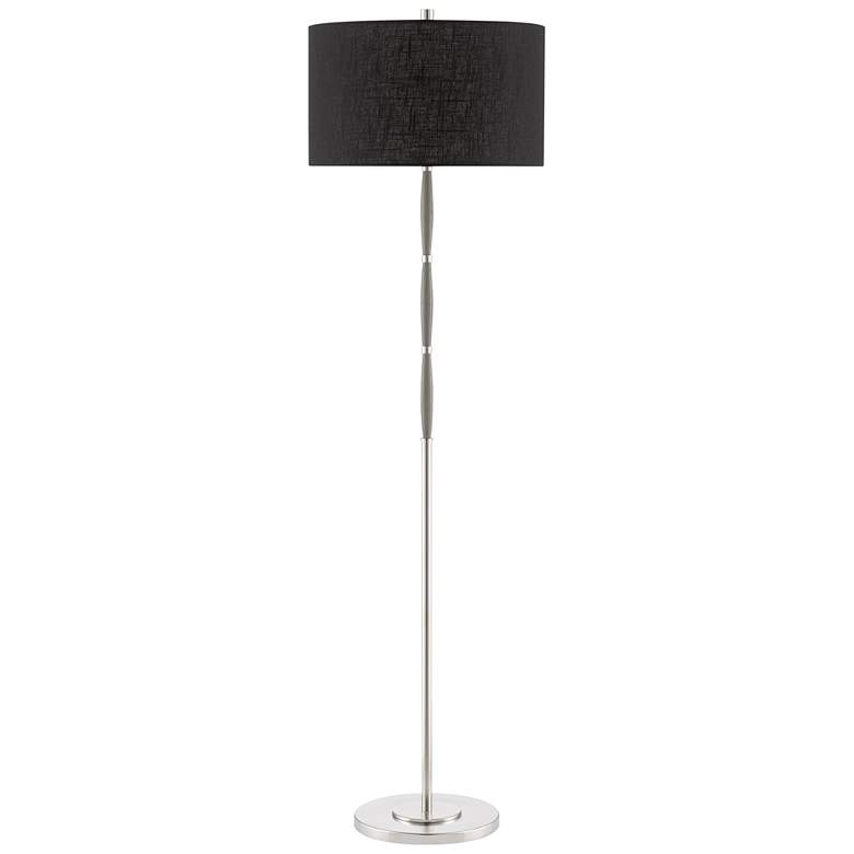 Currey and Company Dashwood Brushed Nickel and Gray Oak Floor Lamp