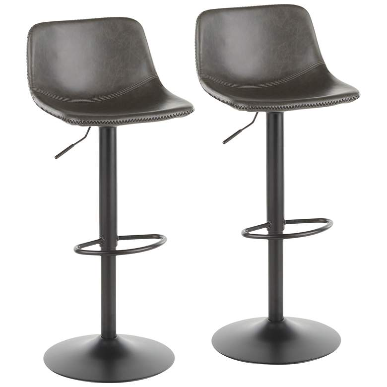 Duke Gray Adjustable Swivel Bar Stools Set of 2