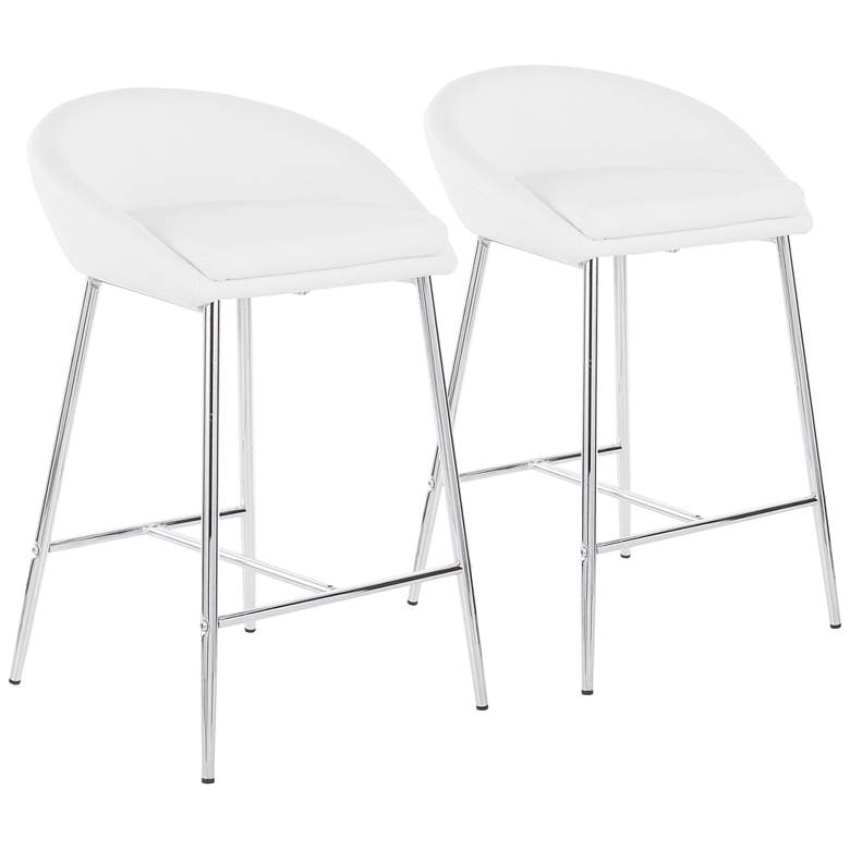 """Matisse 25 3/4"""" White Faux Leather Counter Stools Set of 2"""